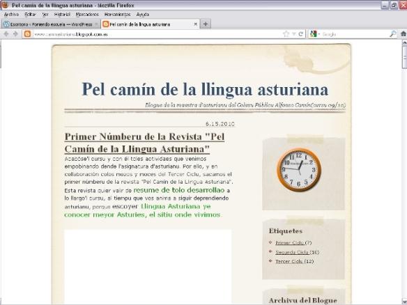 """""""Pel Camín de la Llingua Asturiana"""". C.P. Alfonso Camín (Cursu 2009/2010)"""